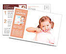 Little girl brushing her teeth isolated on white background Postcard Template
