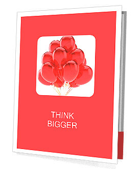 Red party balloons translucent Happy Birthday celebrate holiday occasion decoration. Joy happiness f Presentation Folder