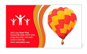 Red and yellow hot air balloon isolated on white. Business Card Template