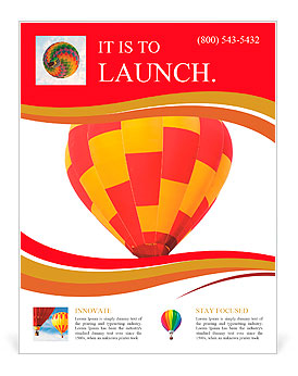 Red and yellow hot air balloon isolated on white. Flyer Template