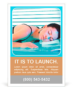 Beautiful young woman tanning in solarium Ad Template