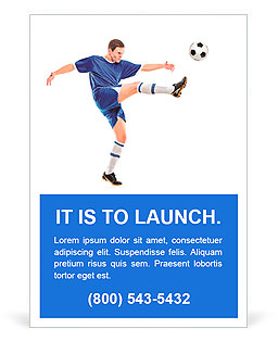 A soccer player shooting a ball isolated on white background Ad Template