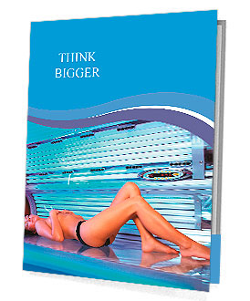 Beautiful young woman tanning in solarium Presentation Folder