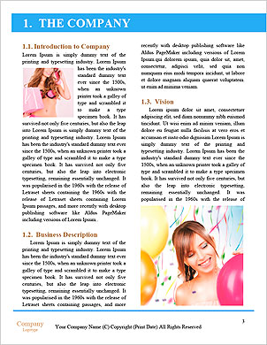 Happy teenage girl with balloons over white Word Template - Page 3