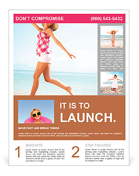 Young female running on the beach Flyer Template