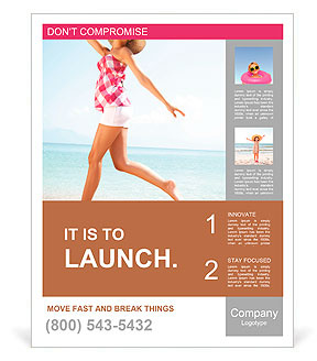 Young female running on the beach Poster Template