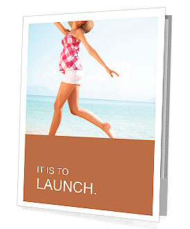 Young female running on the beach Presentation Folder