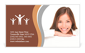 Woman billboard sign. Young beautiful woman smiling showing blank white placard. Casual and relaxed Business Card Template