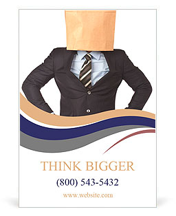 Lack of business identity concept with a businessman covering his head using a paper bag Ad Template