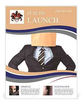 Lack of business identity concept with a businessman covering his head using a paper bag Flyer Template
