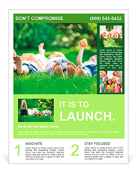 Family playing on green grass Flyer Template