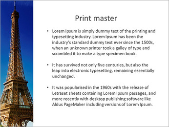 The Eiffel Tower in the background of the lake PowerPoint Template