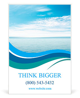 Calm sea and blue clouds Ad Template
