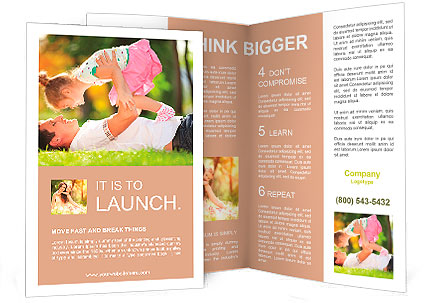 Father playing with his daughter in the park Brochure Template