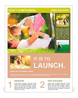 Father playing with his daughter in the park Flyer Template