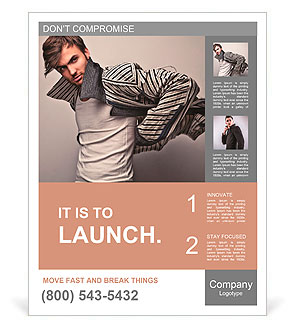 Young man posing Poster Template