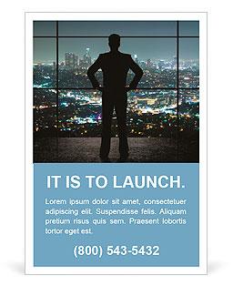 Gece şehre bakarak bir takım elbiseli bir adam Reklam ilanlarının şablonları