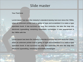 A man in a suit looking at the night city PowerPoint Template