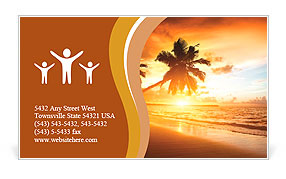 Sunset on the beach Business Card Template