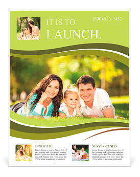 Happy couple with a baby on the grass Flyer Template