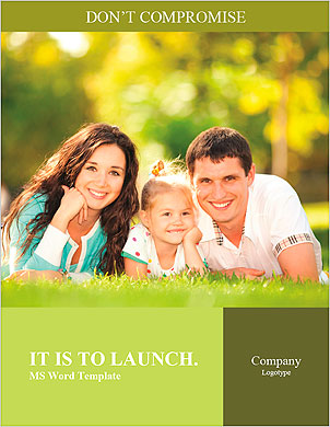 Happy couple with a baby on the grass Word Template - Page 1