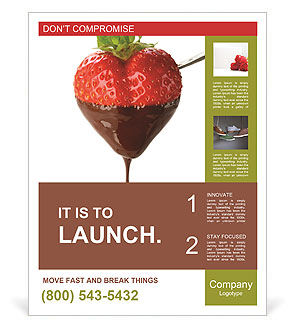 Chocolate covered strawberries on a white background Poster Template