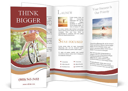A girl rides a bicycle Brochure Template