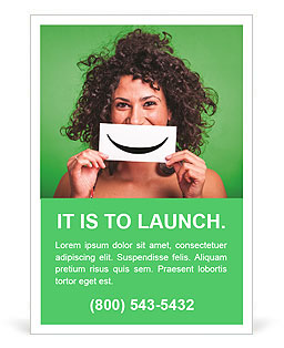 Curly girl holding a sign with a smile Ad Template