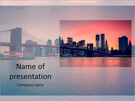 A beautiful view of the bridge and the city PowerPoint Template
