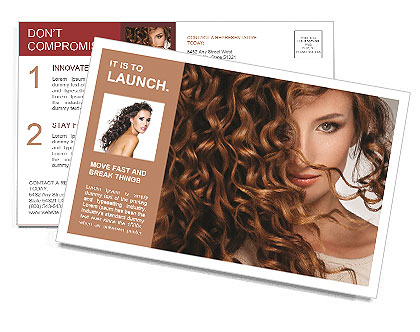Face of beautiful girl with curly hair Postcard Template