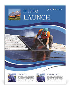 Workers install a solar panel Flyer Template