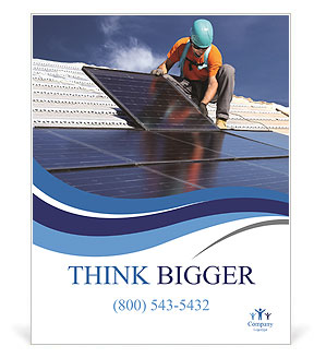 Workers install a solar panel Poster Template