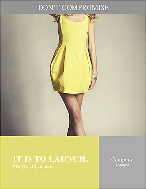 Beautiful model posing in a yellow dress Word Template - Page 1