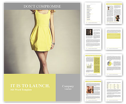 Beautiful model posing in a yellow dress Word Template
