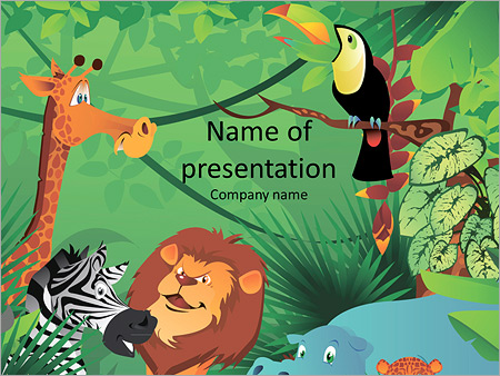 Cartoon Characters In The Jungle Powerpoint Template Infographics Slides