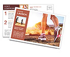 Autumn girl jogging Postcard Template