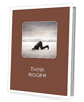 Businessman hiding its head in the sand Presentation Folder