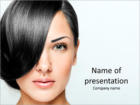 Beautiful girl with short hair PowerPoint Template