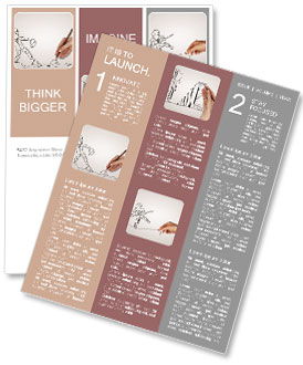 Hand draws a pencil drawing Newsletter Template