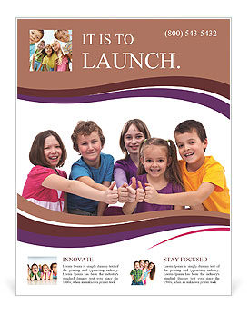 Happy kids on a white background Flyer Template
