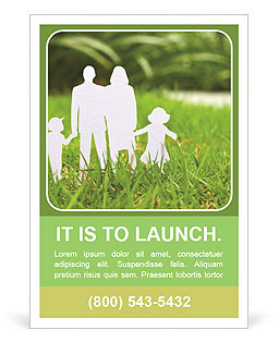 The image of the ideal family on a green lawn Ad Template