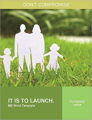 The image of the ideal family on a green lawn Word Template - Page 1