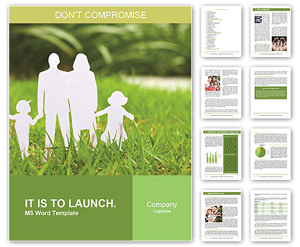 The image of the ideal family on a green lawn Word Template