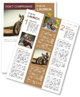 Biker girl sits on a motorcycle Newsletter Template