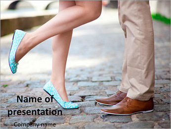 Male and female legs during a date PowerPoint Template