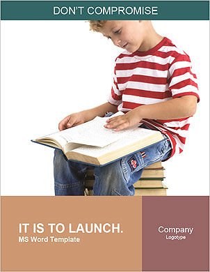Child sitting on the books of knowledge Word Template - Page 1