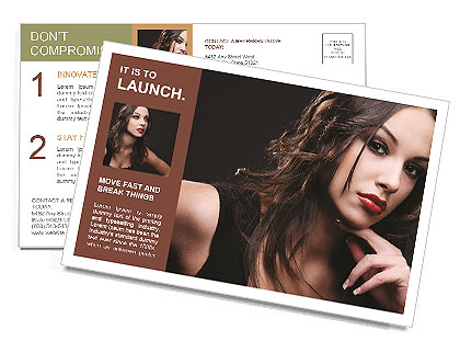 Attractive young woman on a black background Postcard Template