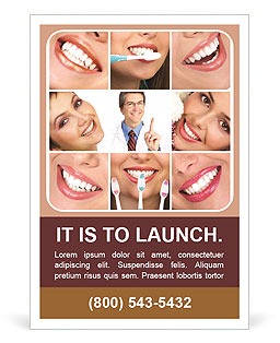 Collage of female smiles prevention of dental disease Ad Template