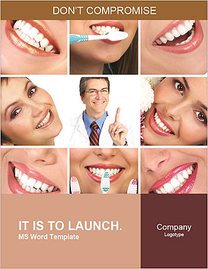 Collage of female smiles prevention of dental disease Word Template - Page 1