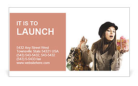 A girl holding a gift in hand Business Card Template